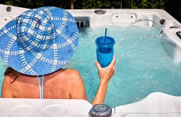 This woman is beating the winter blues with a soak in her hot tub.